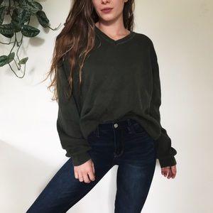 Slouchy olive boyfriend sweater